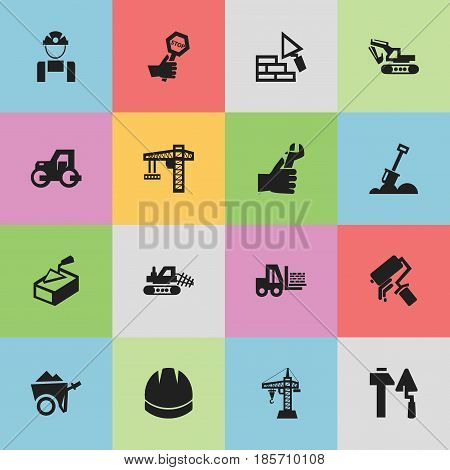 Set Of 16 Editable Construction Icons. Includes Symbols Such As Scrub, Lifting Equipment, Oar And More. Can Be Used For Web, Mobile, UI And Infographic Design.