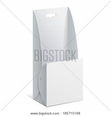 White Cardboard holder for brochures and flyers. Vector Illustration