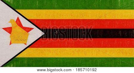 Flag Of Zimbabwe Grunge.