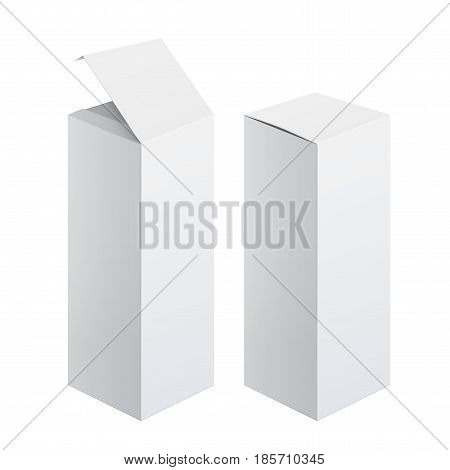 Cool Realistic White Package Cardboard Box Opened. For electronic device and other products. In open and closed form. Vector illustration