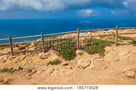 Atlantic ocean from Cabo da Roca the western point of Europe Portugal