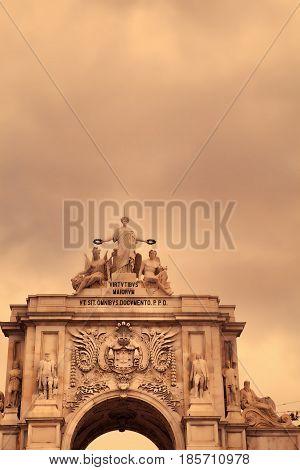 Triumphal arch at Rua Augusta from Commerce Square (Praca do Comercio) in Lisbon Portugal