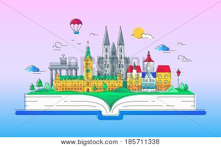Europe - modern vector line travel illustration. Discover Netherlands and Germany. Have a trip, enjoy your vacation. Be on a safe and exciting journey. Landmarks on a book - cathedrals, palaces and museums
