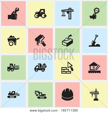 Set Of 16 Editable Building Icons. Includes Symbols Such As Elevator, Facing, Truck And More. Can Be Used For Web, Mobile, UI And Infographic Design.