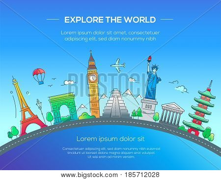 Explore the world - Illustration of vector flat design postcard with famous world landmarks icons