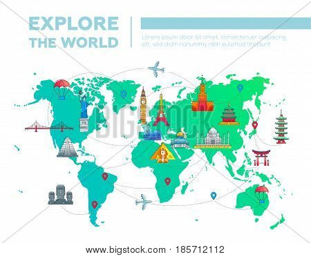 Explore the world - illustration of vector flat design postcard with famous world landmarks icons on the map
