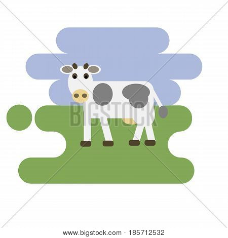 Flat cartoon white cow icon on blue and green background. Vector illustration