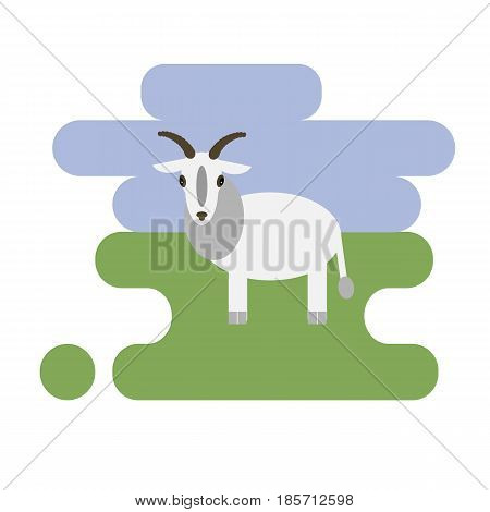 Flat cartoon white goat icon on blue and green background. Vector illustration