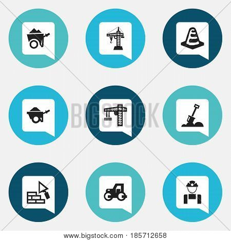 Set Of 9 Editable Building Icons. Includes Symbols Such As Facing, Employee , Handcart. Can Be Used For Web, Mobile, UI And Infographic Design.