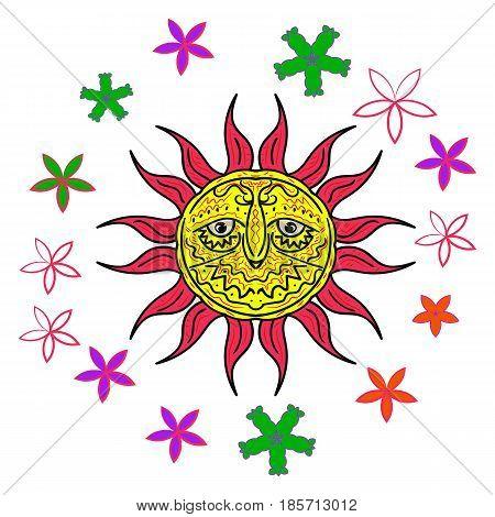 Sunshine and flowers. Vintage illustration vector. Sunny weather
