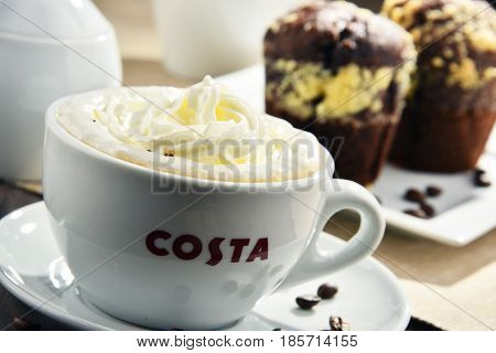 Cup Of Costa Coffee Coffee And Muffins