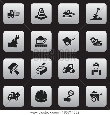 Set Of 16 Editable Building Icons. Includes Symbols Such As Oar, Notice Object, Mule And More. Can Be Used For Web, Mobile, UI And Infographic Design.
