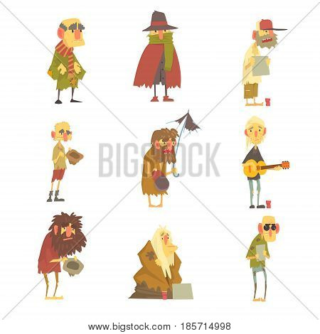 Homeless men characters set. Unemployment and homeless issues cartoon vector Illustrations isolated on white background