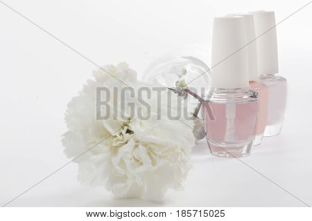 French Manicure Set Of Nail Polish Isolated On White.
