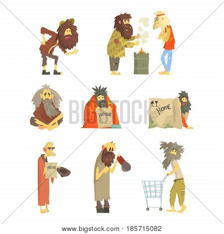 Set of homeless people, characters in dirty torn clothes. Unemployment and homeless issues cartoon vector Illustrations isolated on white background