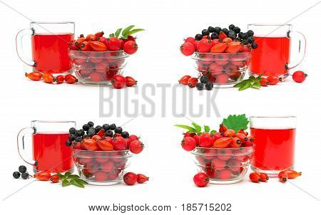 Berries of dogrose hawthorn black chokeberry and a drink. White background - horizontal photo.