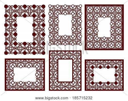 Set Of Lacy Frames With Carved Openwork Pattern. Vector Stencil. Template For Interior Design, Layou