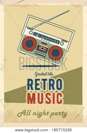 Retro party poster design. Music event at night club. Vintage invitation template. Grunge effects. Old cassette tape recorder