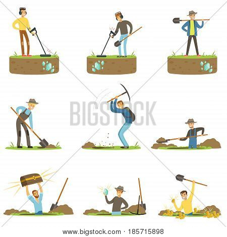 Treasure hunter, archaeologist, downshifter. People in search of treasure. Cartoon detailed Illustrations isolated on white background