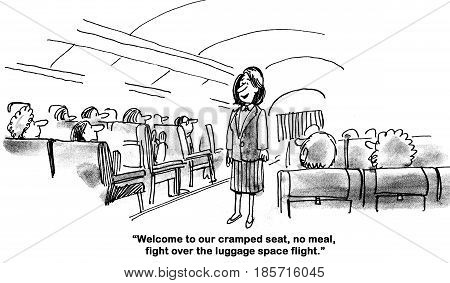 Business cartoon about the terrible customer service offered by the airline industry.