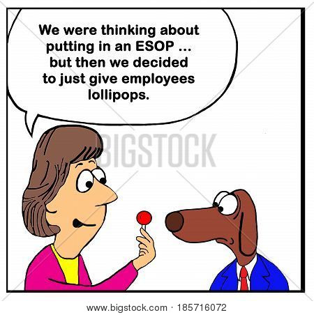 Business cartoon about a company offering lollipops instead of an ESOP plan.