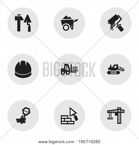 Set Of 9 Editable Construction Icons. Includes Symbols Such As Scrub, Hardhat, Truck And More. Can Be Used For Web, Mobile, UI And Infographic Design.