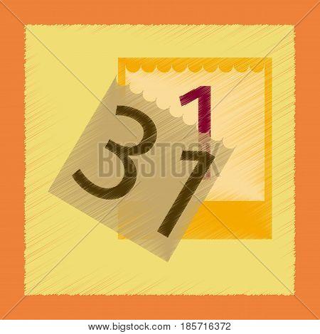 flat shading style icon of tear-off calendar