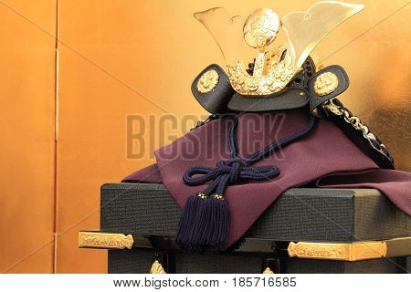 Dolls For The Boys' Festival (japanese Tradition With Gold Screen)