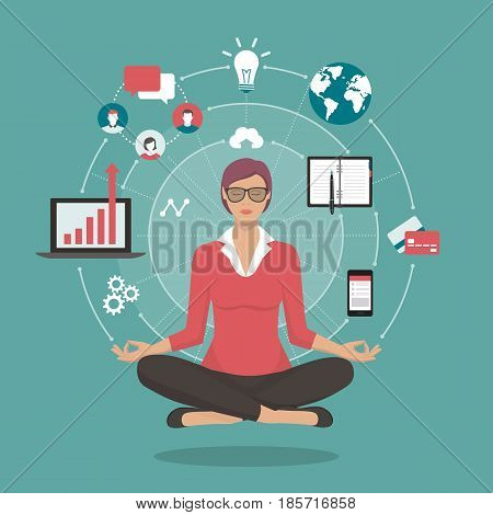 Businesswoman practicing mindfulness meditation she is clearing her mind releasing stressful thoughts and expressing her potential; yoga and self consciousness concept