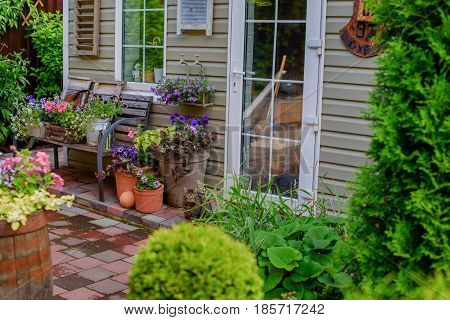 Beautifully decorated porch of a private house