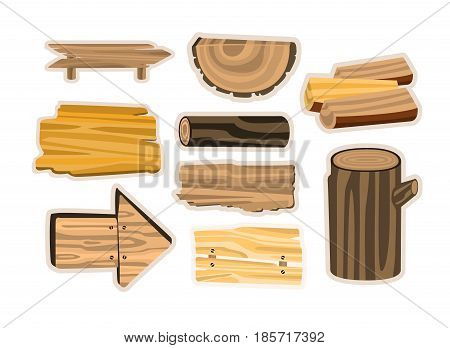 Set of wooden sign boards, planks, logs. Wooden materials vector Illustrations isolated on white background