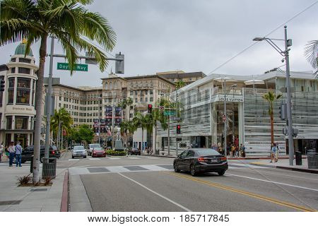 Los Angeles, California, USA - June 12, 2015: The famous Rodeo Drive in Beverly Hills, Los Angeles