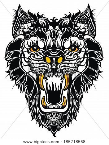 Aggressive wolf on white background. Tattoo tiger