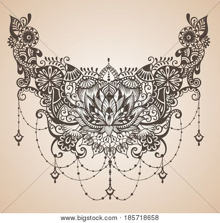 Henna lotus tattoo for your body design