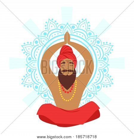 Meditating yogi man in yoga lotus pose, colorful character vector Illustration isolated on a white background