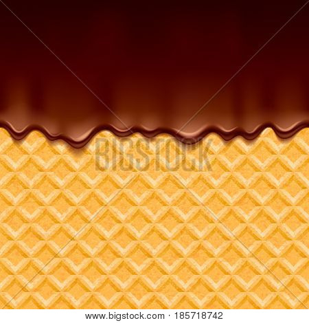 Wafer and melted chocolate - vector background. Sweet texture. Soft icing. Seamless horizontal pattern.
