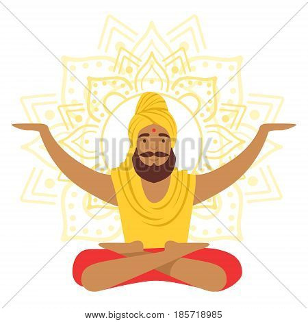 Yogi man in yoga lotus pose and with arms raised, colorful character vector Illustration isolated on a white background