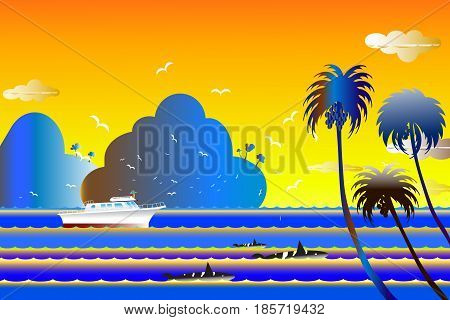 Vector illustration seascape background over sea with the whale family in water wave between archipelago Blue color with fishes and the bird flying in sky cloud background at summer time.