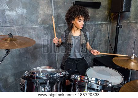 Young Woman Playing Drums In Musical Studio, Drummer Rock Concept