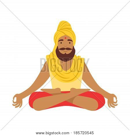 Indian yogi in padmasana lotus pose, wearing Indian clothes. Colorful character vector Illustration isolated on a white background