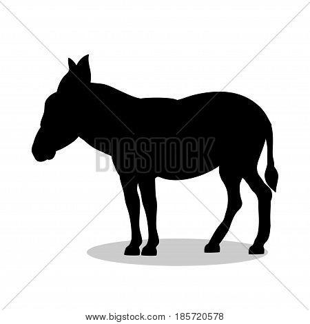 Donkey farm mammal black silhouette animal. Vector Illustrator.