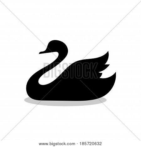 Swan bird black silhouette animal. Vector Illustrator.