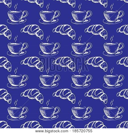 Seamless Pattern Hand Drawn Cup Of Coffee And Croissant.