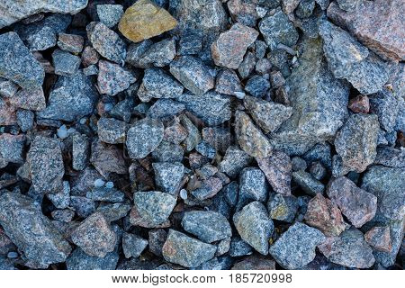 Granite Gravel Texture. Construction Materials. Gravel, Crushed Stone, Stone. Close Up Grey Granite