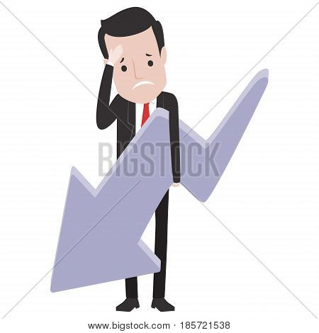 Vector Illustration of Sad Business Man Holding an Arrow Going Down