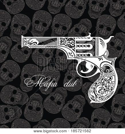 Pistol tattoo card. Mafia club. Tattoo elemnts