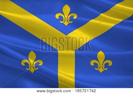 Flag of Issoudun is a commune in the Indre department in the central region of France. 3D illustration