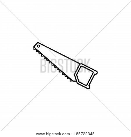 Hand saw line icon, build repair elements, construction tool, a linear pattern on a white background, eps 10.