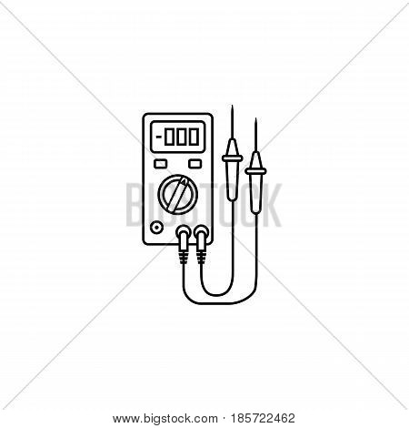 Electric tester line icon, build repair elements, construction tool, a linear pattern on a white background, eps 10.