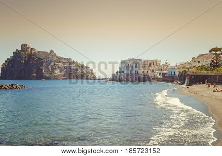 Ischia Ponte and marina village with castle Aragonese already fortress, Prision and Monastery of the Ischia island, Bay of Naples Italy